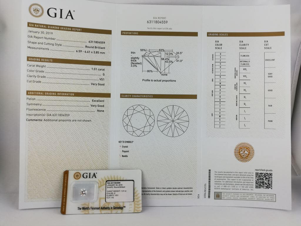 Photo d'un certificat GIA diamant 1.01 carat