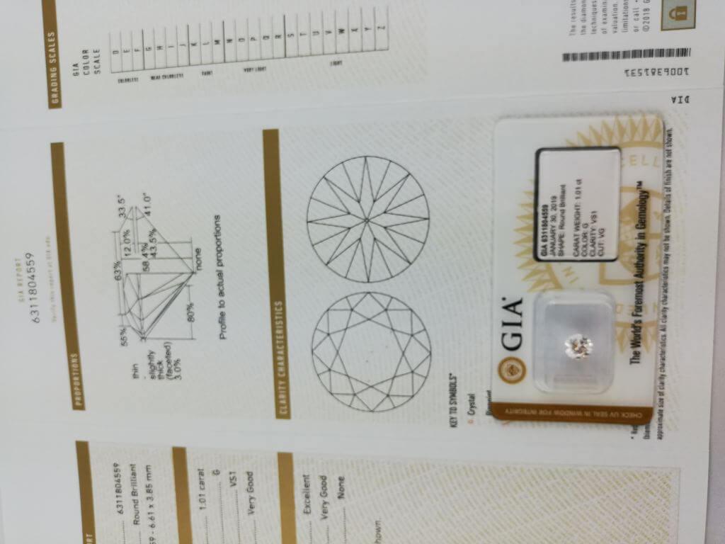 Certificat GIA DIAMANT